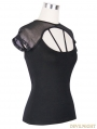 Black Short Sleeves Gothic Sexy Back Shirt for Women