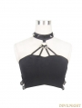 Black Gothic Punk Sexy Halter Top for Women
