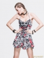 Gothic Punk Skull Pattern Halter Dress for Women