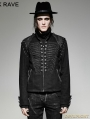 Black Gothic Military Uniform Short Coat with Removable Sleeves for Men