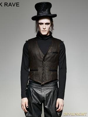 Brown Vintage PU Steampunk Waistcoat for Men