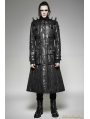 Black Gothic Heavy Punk Long Leather Coat for Men