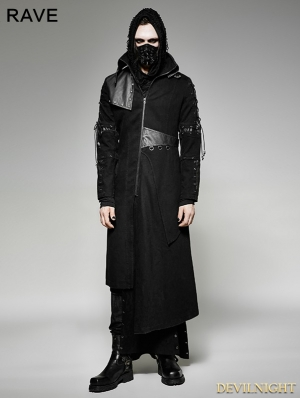 Black Gothic Punk Asymmetric Hem Jacket for Men