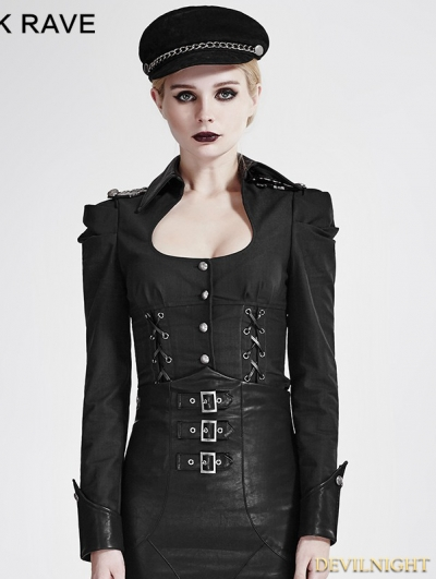 Black Gothic Military Uniform Shirts for Women
