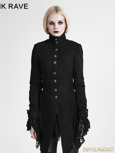 Black Woolen Lace Stitching Gothic Coat for Women