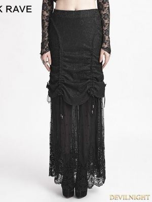 Romantic Black Gothic Composite Lace Skirt