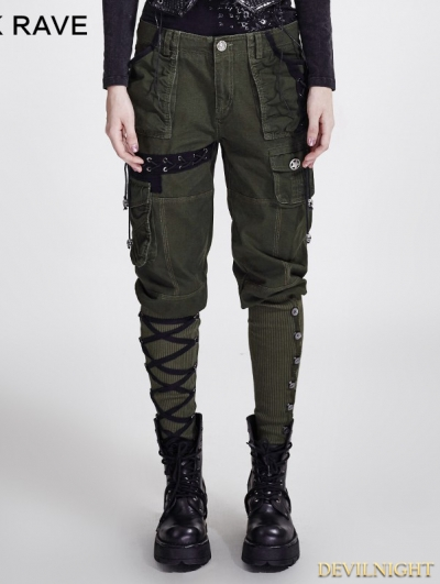 Green Gothic Workwear Multi Pocket Pants for Women
