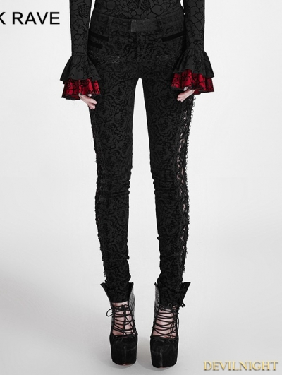 Black Gothic Lace Stitching Flocking Flower Trousers for Women