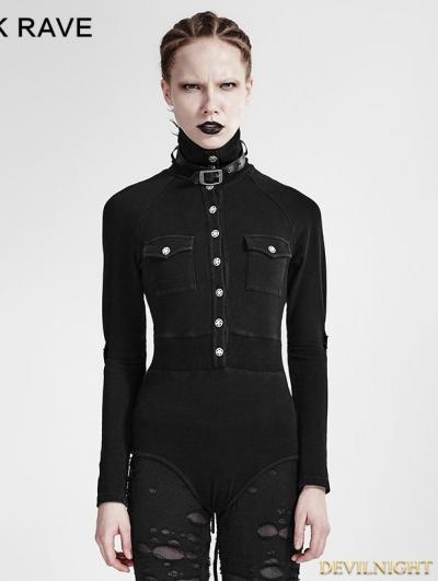 Black Gothic Siamese Military Uniform T-Shirt for Women
