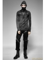 Black Steampunk Leather Loop Hooded T-Shirt for Men