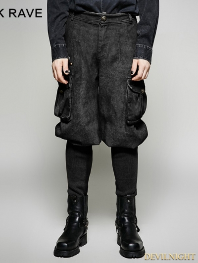 Black Gothic Steampunk Looser Trouser for Men