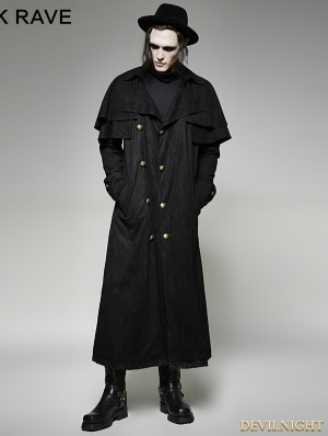 Black Steampunk Long Imitation Suede Coat for Men