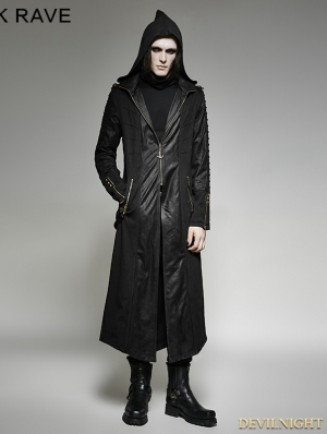 Black Gothic Heavy Punk Long Hooded Coat for Men
