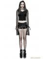 Black Gothic Punk PU Locomotive Shorts for Women