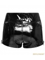 Black Gothic Punk PU Locomotive Shorts for Women