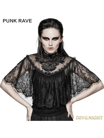 Black Gothic Lace Shrug Shawl T-Shirts for Women