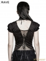Black Gothic Swallow Tail Short Sleeve T-Shirt for Women