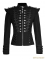 Black Gothic Military Frogs Short Jacket for Women