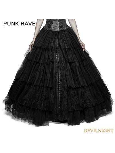 Black Gothic Long Mesh Skirt