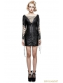Black Gothic Punk Hollow Out Deep V Sexy Dress