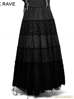Black Sector Big Swing Gothic Long Skirt