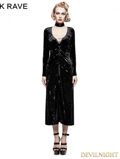 Black Gothic Retro-minimalist Band Imitation Gold Velvet Dress Coat