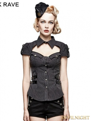 Gothic Military Uniform Short Stripe Shirt for Women