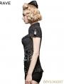 Gothic Military Uniform Short Stripe Shirt for Women