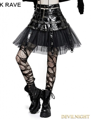 Black Gothic Punk Japanese Style Short Skirt