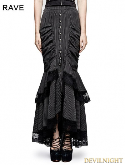 Black Stripe Steampunk Full-Skirted Fishtail Skirt