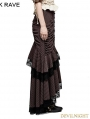 Brown Stripe Steampunk Full-Skirted Fishtail Skirt