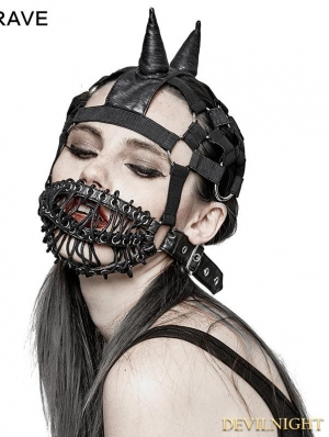 Gothic Punk Beanie Hat with Mask