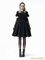 Black Gothic Lolita Short Sleeve Woolen Dress