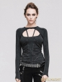 Devil Fashion Black Gothic Sexy Backless T-shirt for Women