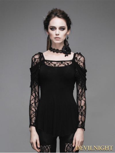 Devil Fashion Romantic Black Lace Long Sleeves Gothic T-shirt for Women