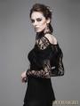 Devil Fashion Romantic Black Lace Long Sleeves Gothic T-shirt for Women