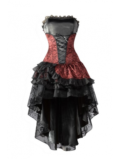 SALE!Red Corset High-Low Layer Skirt Gothic Party Dress