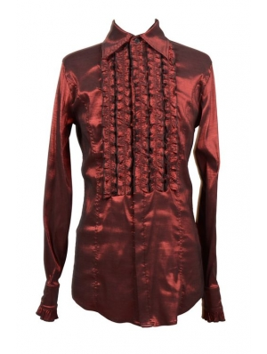 Red Long Sleeves Gothic Blouse for Men