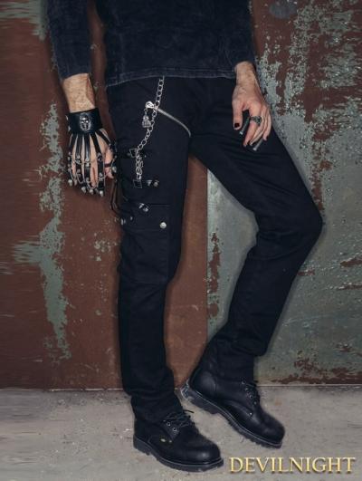 SALE!Black Zipper Chain Gothic Punk Pants for Men