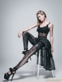 Black Lace and Gauze High-Low Gothic Skirt