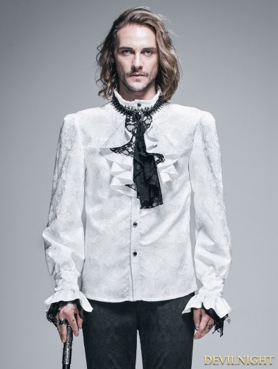 SALE!White Palace Style Men's Gothic Blouse with Removable Tie