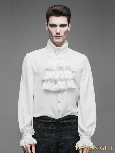 SALE!Devil Fashion White Flounce Tie Gothic Blouse for Men