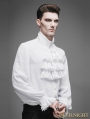 Devil Fashion White Flounce Tie Gothic Blouse for Men