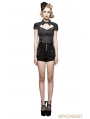 Black Gothic Military High-waisted Shorts for Women