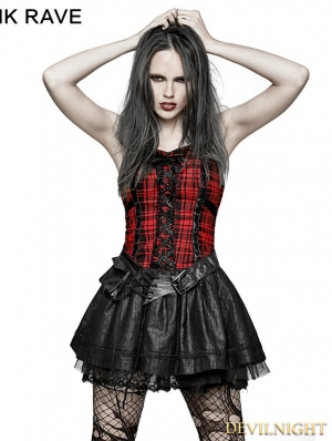 Black Gothic Punk Plaid Dress