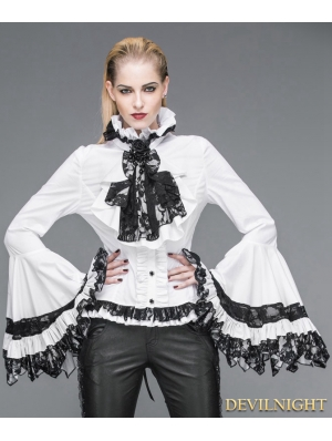 White Gothic Palace Style Blouse for Women