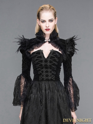 Black Vintage Gothic Short Feather Cape for Women