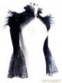 Black Vintage Gothic Short Feather Cape for Women