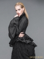 Black Gothic Palace Style Jacquard Ruffles Blouse for Women