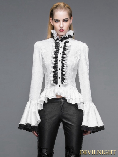 White Gothic Palace Style Jacquard Ruffles Blouse for Women